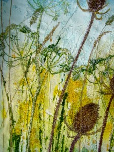 Teasels, cow parsley and grasses, gesso and inks machine embroidery by Gill Kirk