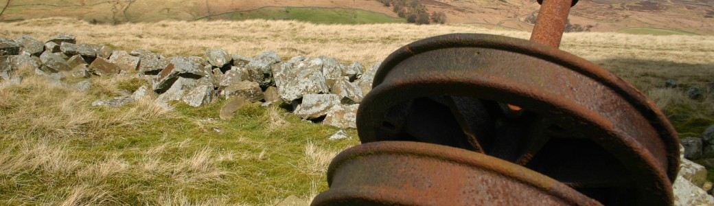 Remains of machinery at Scar House reservoir